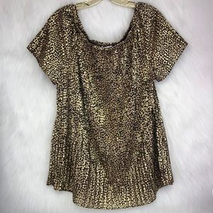 Michael Kors Gold & black leopard print blouse XL